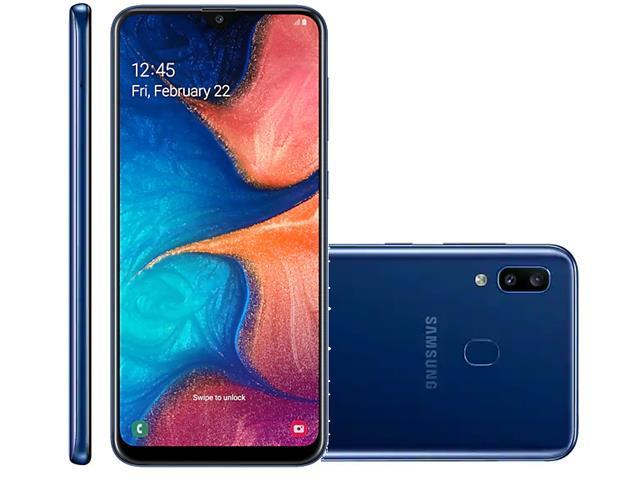 Smartphone Samsung Galaxy A20 32GB Duos 4G Tela 6.4Câm 13+5MP Azul