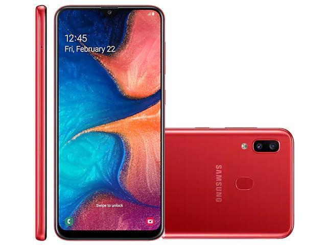 Smartphone Samsung Galaxy A20 32GB Duos 4G Tela 6.413+5MP Vermelho