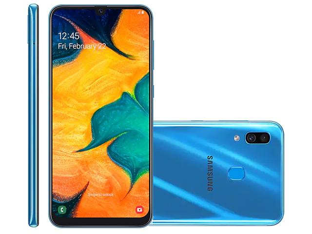 Smartphone Samsung Galaxy A30 64GB Duos 4G Tela 6.4Câm 16+5MP Azul