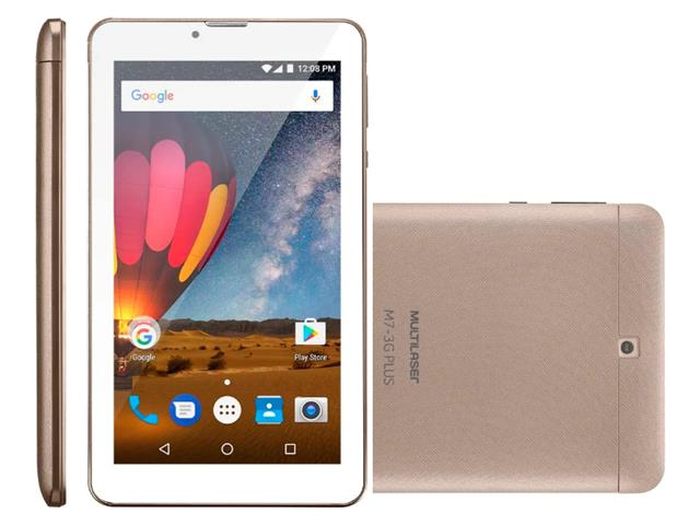 Tablet Multilaser M7 3G Plus 8GB Quad Core 1GB RAM Tela 7 Dual Dourado