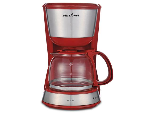 Cafeteira Elétrica Britânia Inox Plus BCF18IV Vermelha 18 Xícaras 220V - 1