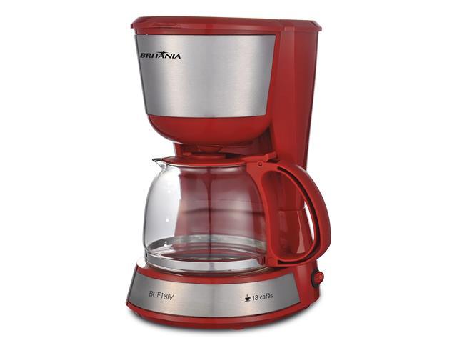 Cafeteira Elétrica Britânia Inox Plus BCF18IV Vermelha 18 Xícaras