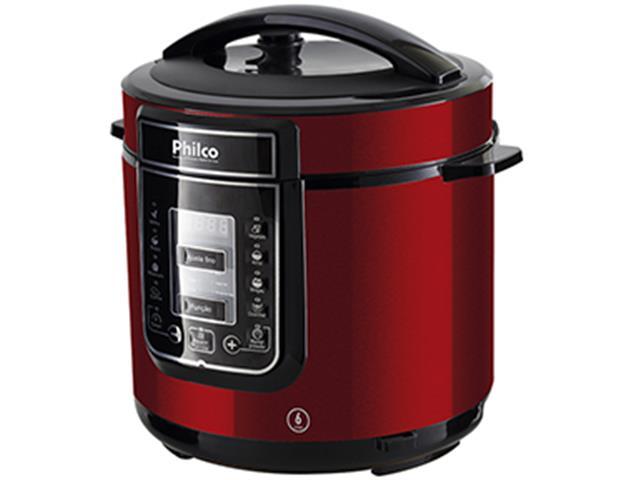 Panela de Pressão Digital Philco Inox Vermelha 6 Litros 1000W - 1