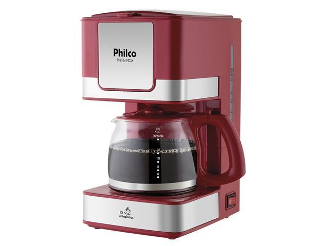 Cafeteira Elétrica Philco PH16 Vermelha e Inox 15 Xícaras 550W 110V