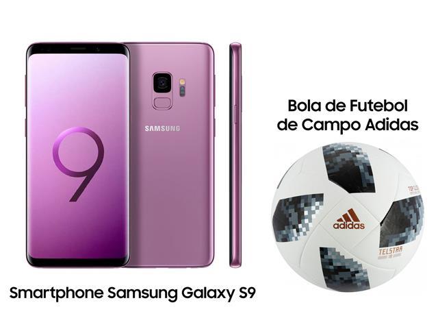 Smartphone Samsung Galaxy S9 128GB Violeta+Bola Futebol Campo Adidas