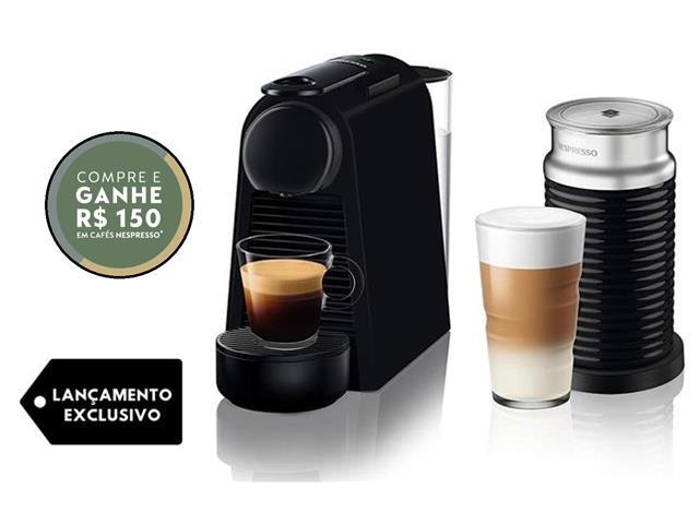 Combo Cafeteira Nespresso Essenza Mini Matt Black + Aeroccino 3 110V