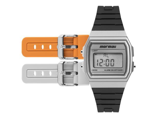 Relógio Mormaii Masculino MOY1554AB/8L Prata Digital Troca Pulseira