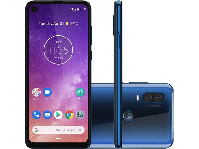 "Smartphone Motorola One Vision 128GB 6.3"" 4G Câmera 48+5MP Azul Safira"