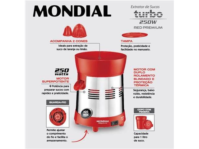 Extrator de Frutas Mondial E-24 Premium Turbo Red 250W Bivolt - 2