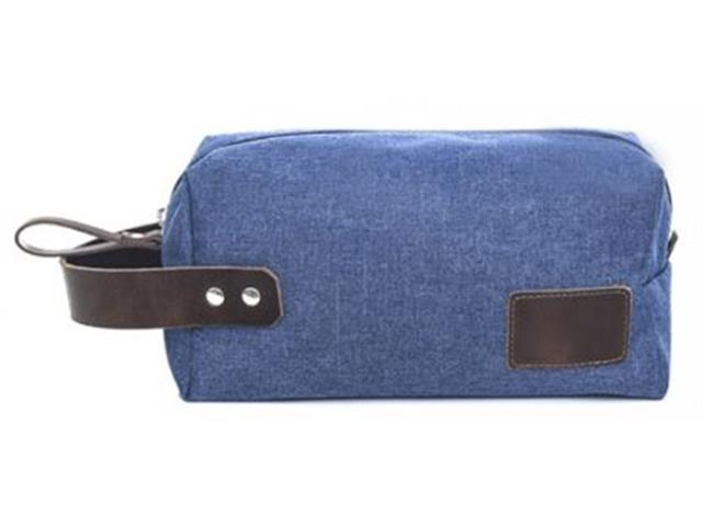 Necessaire em Nylon Azul Marinho com Detalhes em Couro Marrom - 1