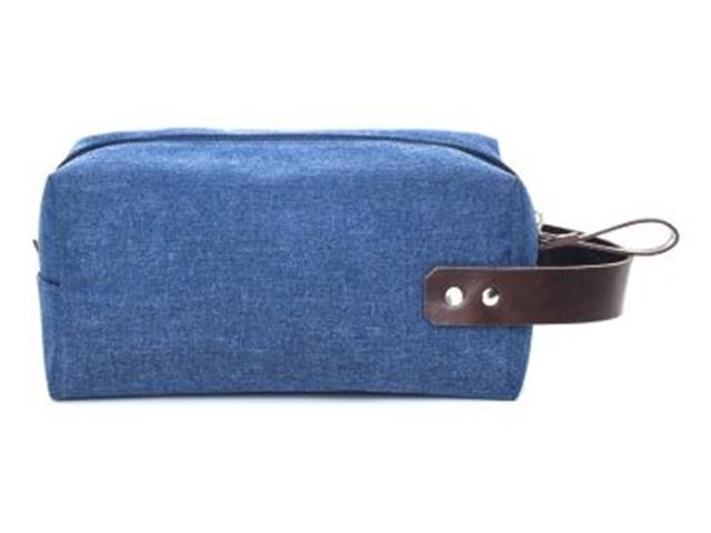 Necessaire em Nylon Azul Marinho com Detalhes em Couro Marrom - 2