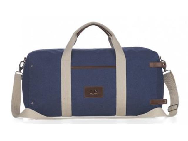 Bolsa de Viagem Azul Marinho com Detalhes em Couro