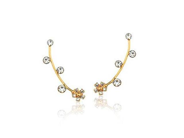 Brinco Ear cuff fio com flor e 4 Pedras Dourado