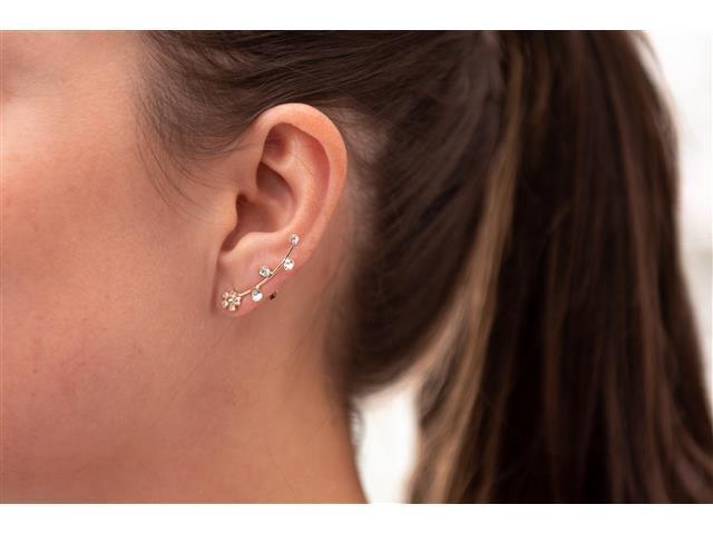 Brinco Ear cuff fio com flor e 4 Pedras Dourado - 1