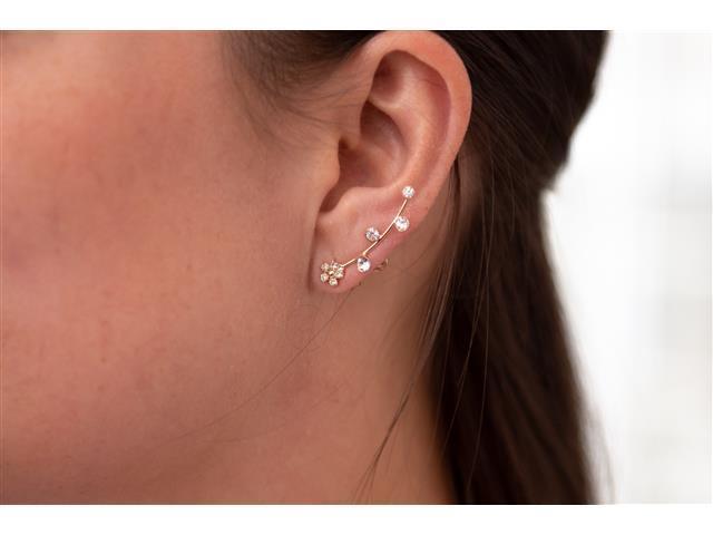 Brinco Ear cuff fio com flor e 4 Pedras Dourado - 2