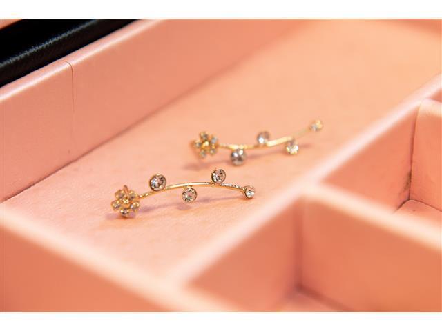 Brinco Ear cuff fio com flor e 4 Pedras Dourado - 3
