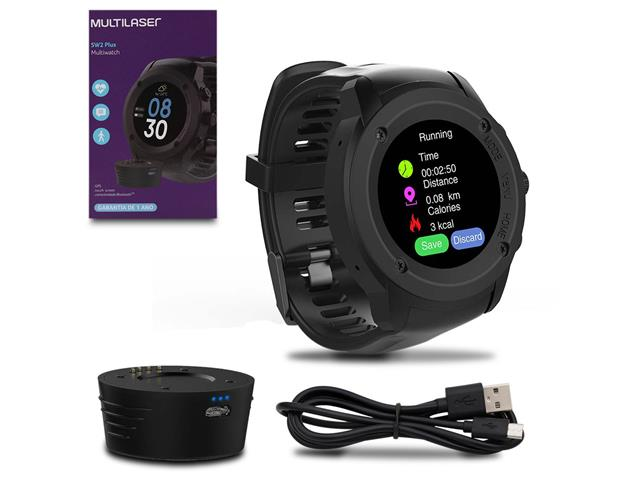 Relógio Multilaser Multiwatch SW2 Plus Bluetooth Touch Preto
