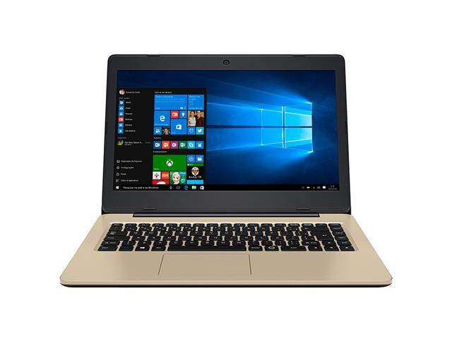 Notebook Positivo Stilo Colors QuadCore 2GB 32GB Tela 14 Win10 Dourado