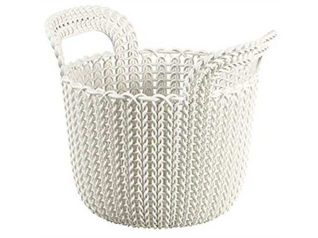 Cesto Organizador Curver Knit Trançado Redondo 3 Litros Oasis White