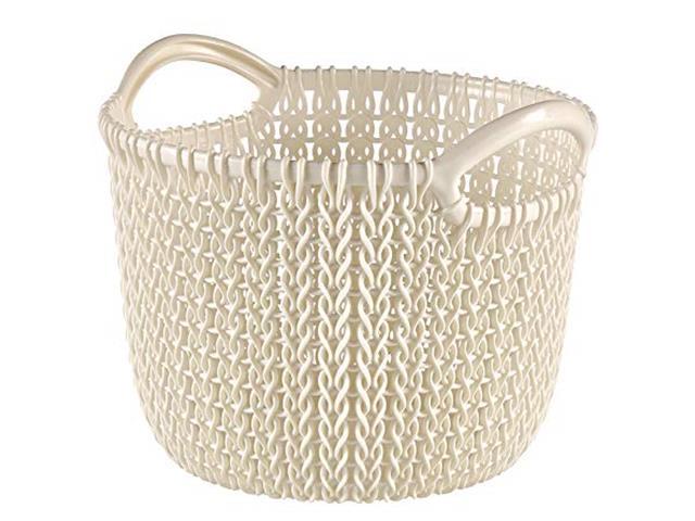 Cesto Organizador Curver Knit Trançado Redondo 30 Litros Oasis White