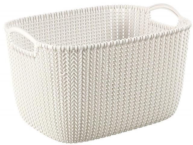 Cesto Organizador Curver Knit Trançado Retang 19 Litros Oasis White