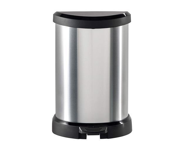 Lixeira Curver Deco Textura Metálica 5 Litros Silver - 1