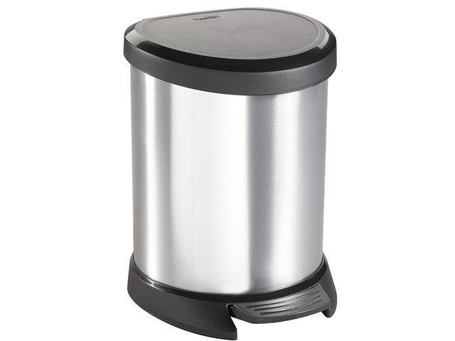 Lixeira Curver Deco Textura Metálica 5 Litros Silver