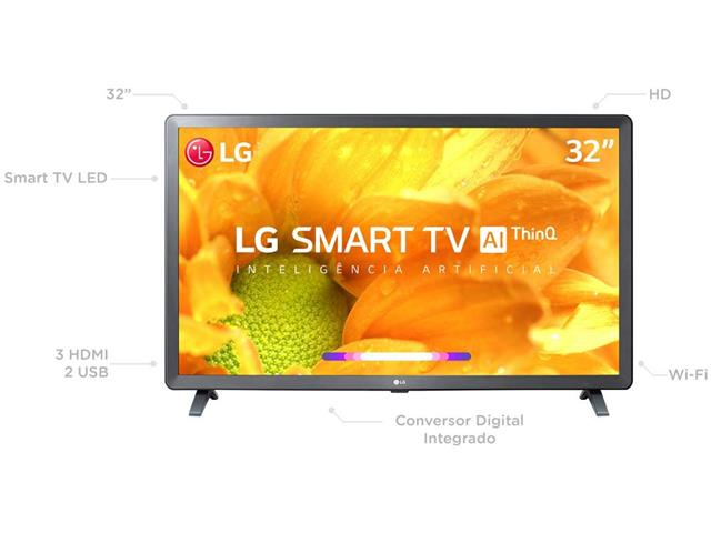 "Smart TV LED 32"" LG HD ThinQ AI TV HDR webOS 4.5 Wi-Fi 3 HDMI 2 USB - 1"