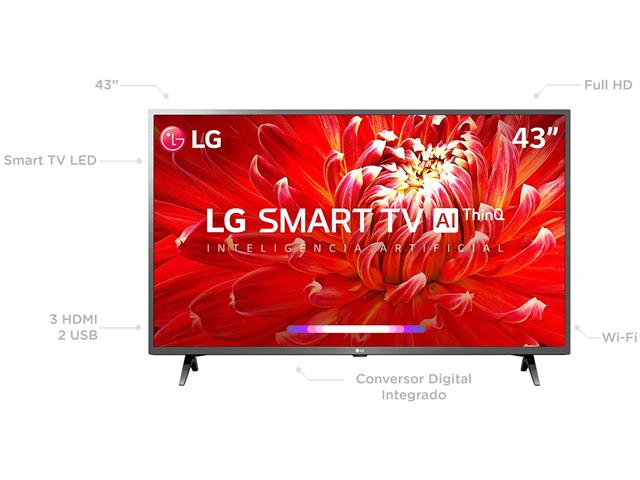 "Smart TV LED 43"" LG Full HD ThinQ AI TV HDR webOS 4.5 Wi-Fi 3HDMI 2USB - 1"