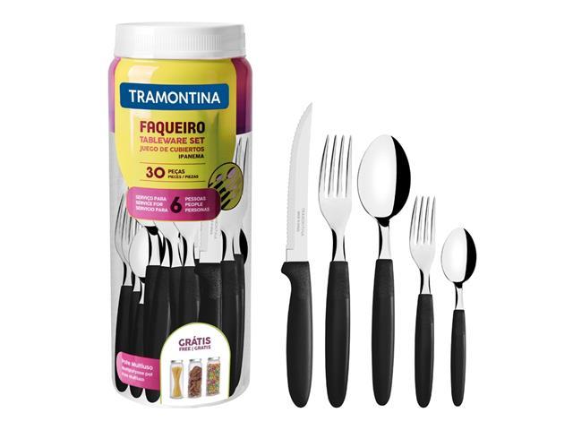 Faqueiro Tramontina Ipanema em Aço Inox e Polipropileno com Pote Preto – 30 Peças - 1