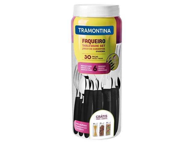 Faqueiro Tramontina Ipanema em Aço Inox e Polipropileno com Pote Preto – 30 Peças - 3