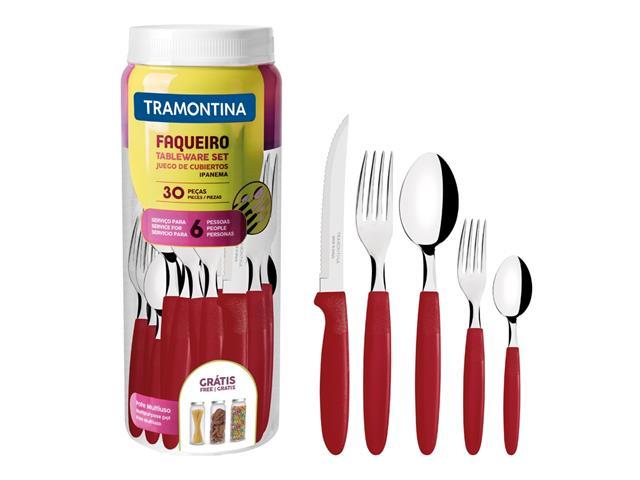 Faqueiro Tramontina Ipanema em Aço Inox e Polipropileno com Pote Vermelho – 30 Peças