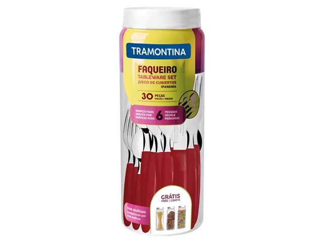 Faqueiro Tramontina Ipanema em Aço Inox e Polipropileno com Pote Vermelho – 30 Peças - 2