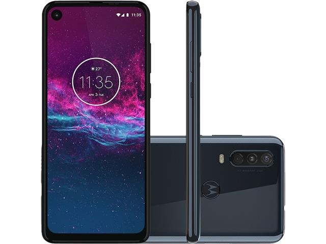 "Smartphone Motorola One Action 128GB 6.3"" 4G Câm 12+5+16MP Azul Denim"