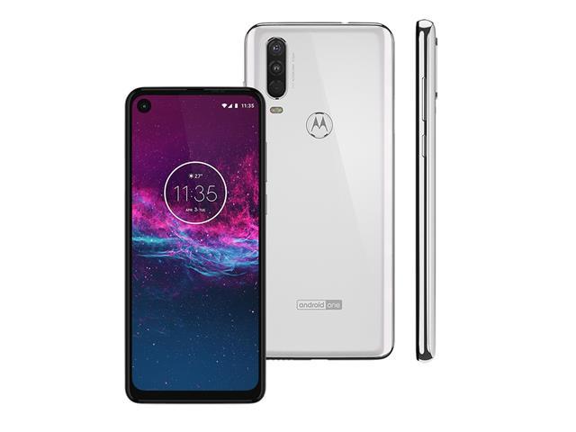 "Smartphone Motorola One Action 128GB 6.3""4G Câm 12+5+16MP Branco Polar - 1"