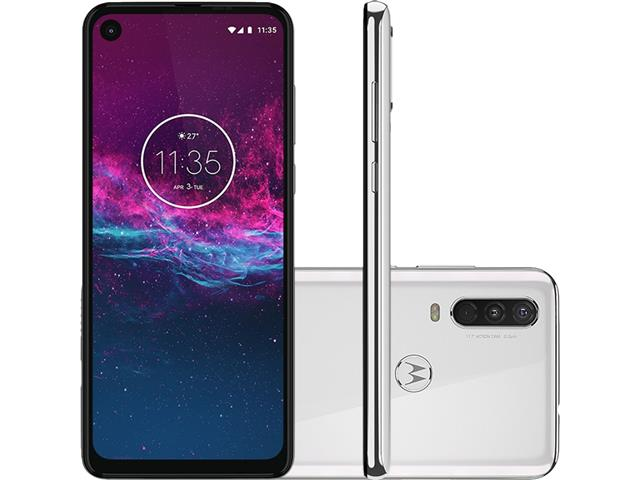 "Smartphone Motorola One Action 128GB 6.3""4G Câm 12+5+16MP Branco Polar"