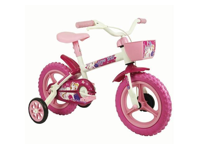 Bicicleta Infantil Track Bikes Arco Íris Aro 12 Branco e Rosa
