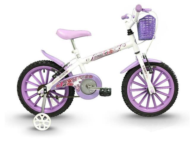 Bicicleta Infantil Track Bikes Pinky Aro 16 Branco e Lilás - 1