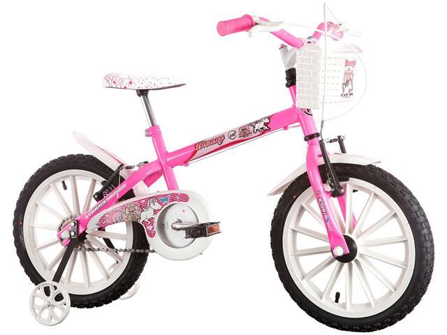 Bicicleta Infantil Track Bikes Monny com Cestinha Aro 16 Rosa