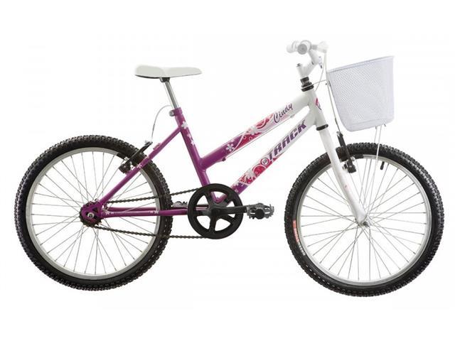 Bicicleta Juvenil Track Bikes Cindy com Cesta Aro 20 Branco e Rosa
