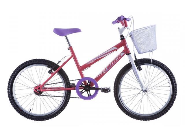 Bicicleta Juvenil Track Bikes Cindy com Cesta Aro 20 Salmão e Branco