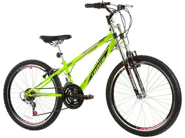 Bicicleta Track Bikes Dragon Fire 18V Aro 24 Verde Limão