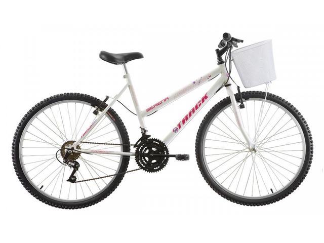 Bicicleta Track Bikes Serena com Cesta 18V Aro 26 Branca