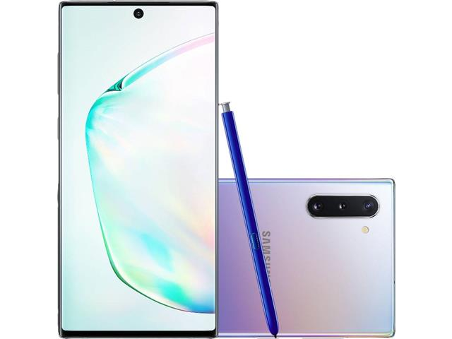 "Smartphone Samsung Galaxy Note 10 4G 6.3"" 256GB 8GB 12+16+12MP Prata"