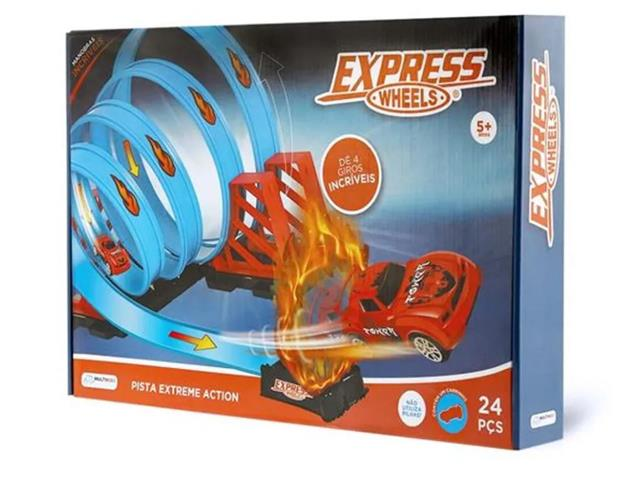 Pista Multikids Express Wheels Extreme Action com 4 Loop 360 24 Peças