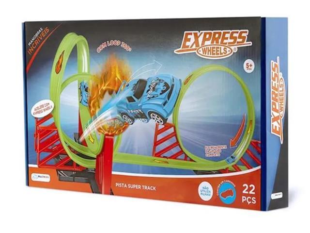 Pista de Corrida Multikids BR1016 Super Track com Loop 360 22 Peças