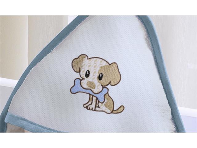 Toalha Infantil Buettner Baby Felpuda Bordada Little Dog Azul - 1