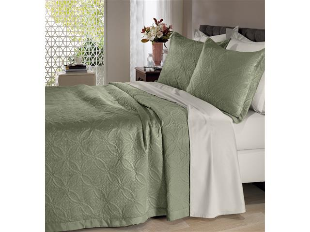Colcha Queen Buettner Micromink Lotus Verde Claro