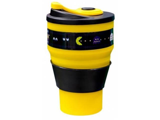 Copo Retratil Kathavento Pac Man 400Ml Amarelo e Preto