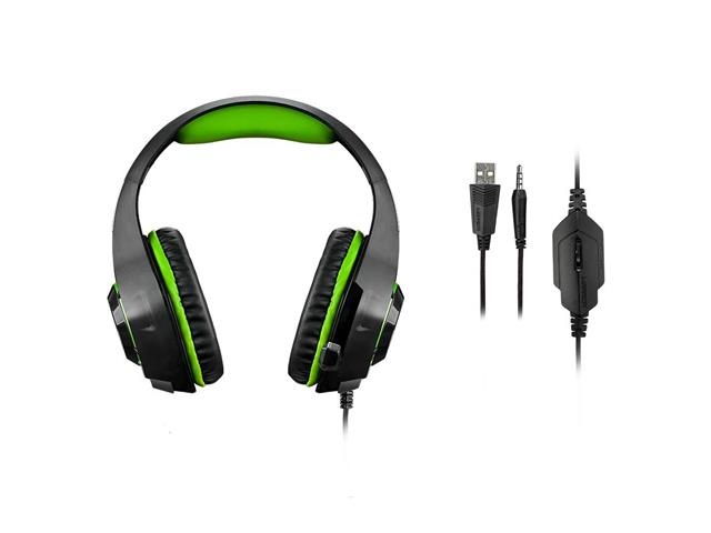 Headset Gamer Warrior Rama P3 + USB Stereo Adaptador P2 LED Verde - 3
